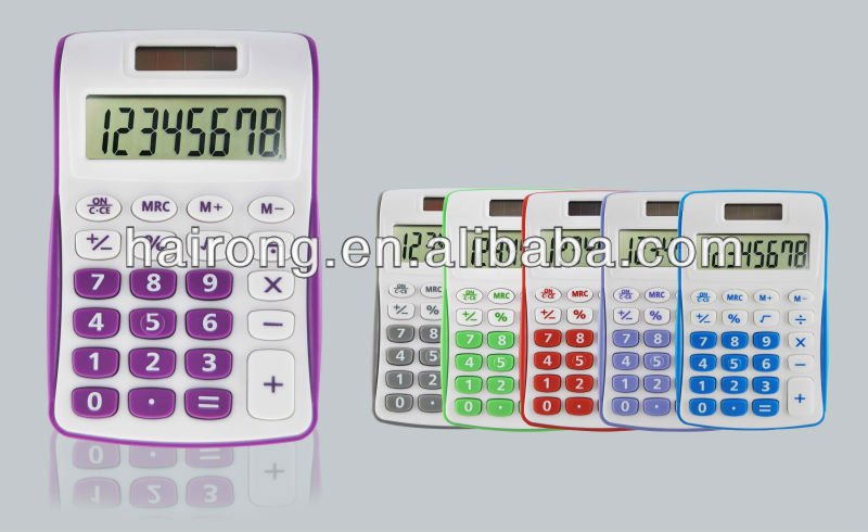 Hairong cheap wholesale 8 digit digital calculator solar cell with dual power