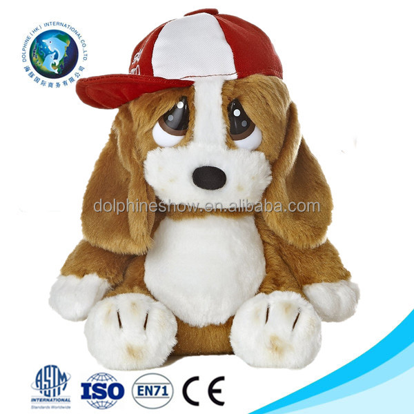 Handsome cute custom stuffed plush dog toy with hat wholesale cheap pretty big eyes soft toy brown barking plush dog