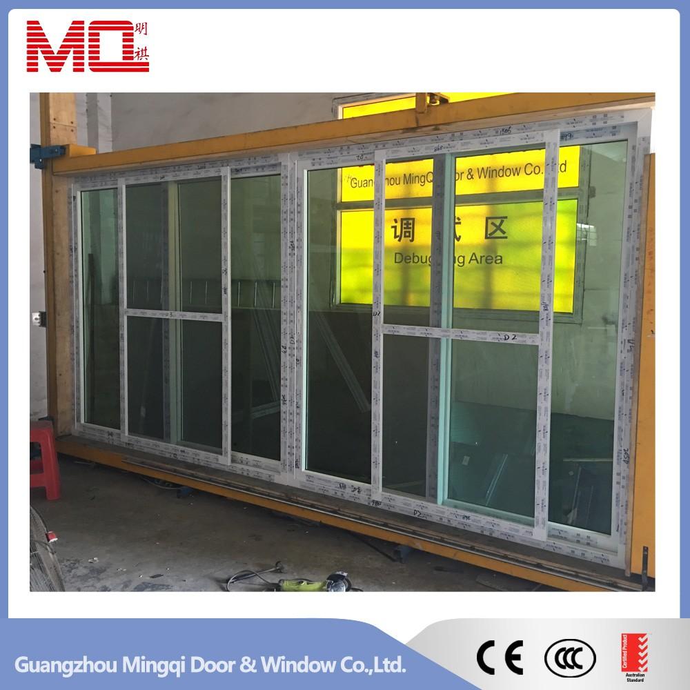 Balcony upvc glass sliding door with grills insert double for Upvc sliding glass doors