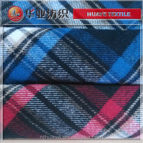 yarn dyed cotton twill check flannel fabric for woman shirt