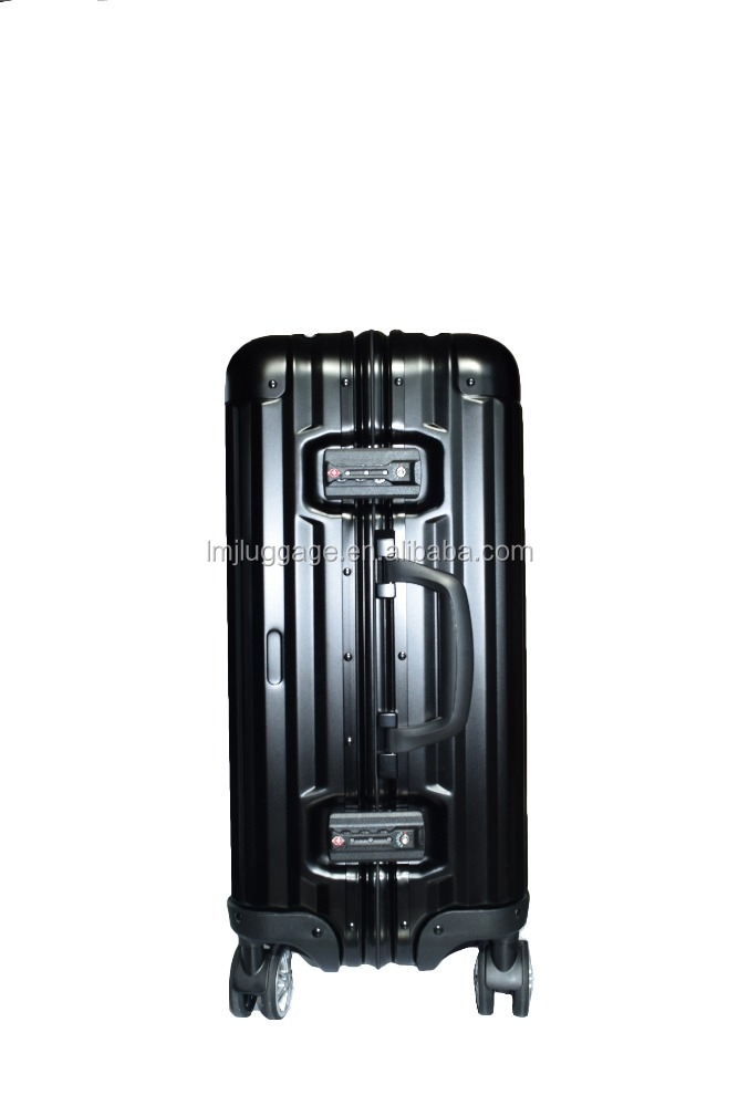 Big brand design Aluminum travel trolley luggage/secret compartment/luxury leather luggage