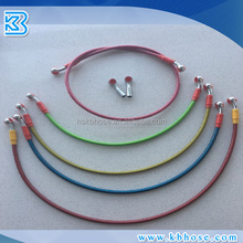 "3.2mm 1/8"" Red Yellow Blue Orange PTFE Nylon SS Stainless Steel Wire Braided Motorcycle Brake Oil Hose Line With Banjo Fittings"