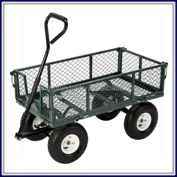 removable steel garden cart with drop down mesh sides