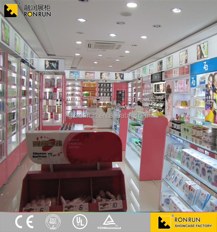 shopping mall cosmetic kiosk funiture interior design with beauty product