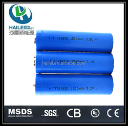 China manufacture 18650 rechargeable 3.2v lifepo4 battery 1500mah