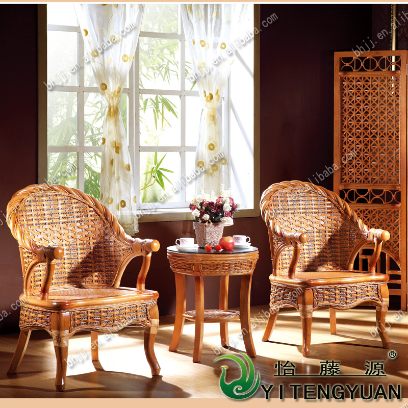 Living room Natural rattan furniture tablechair