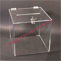Wholesale acrylic plastic clear charity donation box with lock