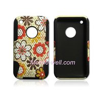 2 in 1 Case ,Plastic mesh & silicone inner design case for iphone 3g/3gs