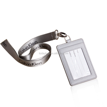 Durable PU leather staff ID card holder with Lanyard