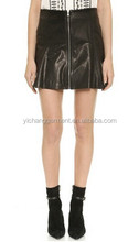 Ladies Genuine Lamb Leather Mini Zip Skirt, Black