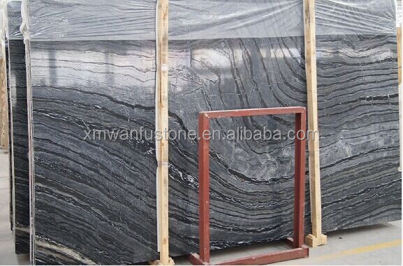 Black marble slab with high quality for USA / polished surface marble/ black wiht strip marble slab