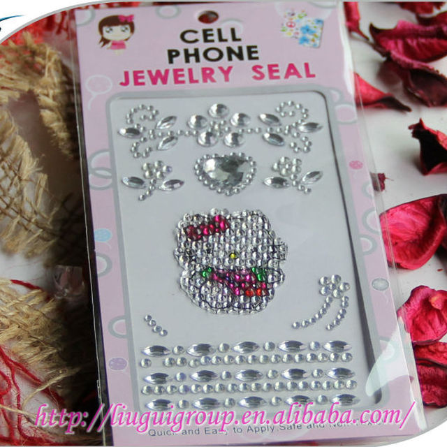 2015 hot sale hello kitty design cell phone decoration diamond rhinestone sticker