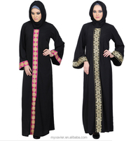 Arabic emroidered abaya latest colorful slip-on dress designs for women arabic abaya burqa and muslim clothing manufacturer