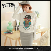 Beautiful 100% cotton women tops blouse owl print hollow out casual wear female T Shirt