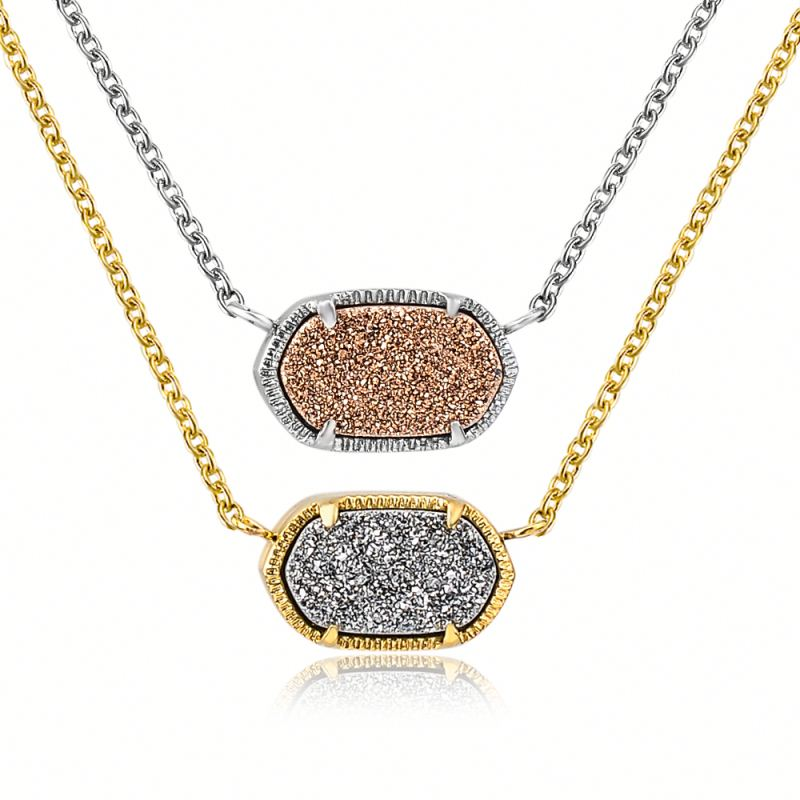 Women Gemstone Natural Stone Jewellery Pendant Necklace ,Druzy Crystal 18K Gold Necklace Jewelry