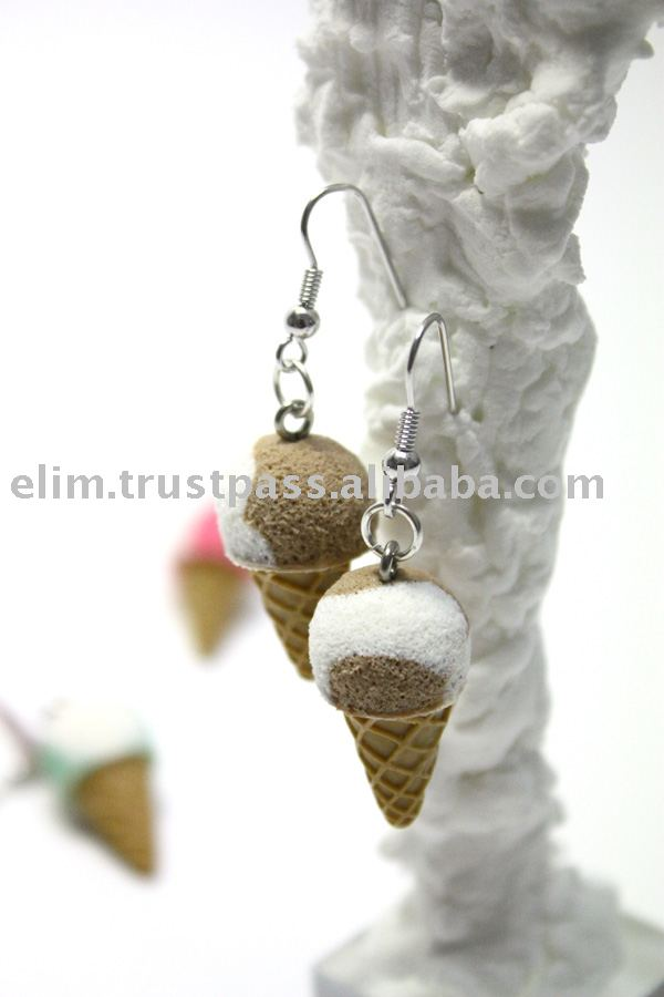 G3071 Choco vanilla Icecream Cone Costume Handmade Earrings