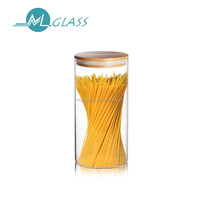 wholesale glass jar storage jar 1000ml capacity wooden lid