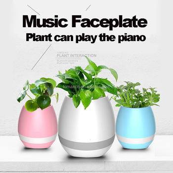Smart Touch Plant LED light Bluetooth Speaker Wireless Music player Flower Pot table