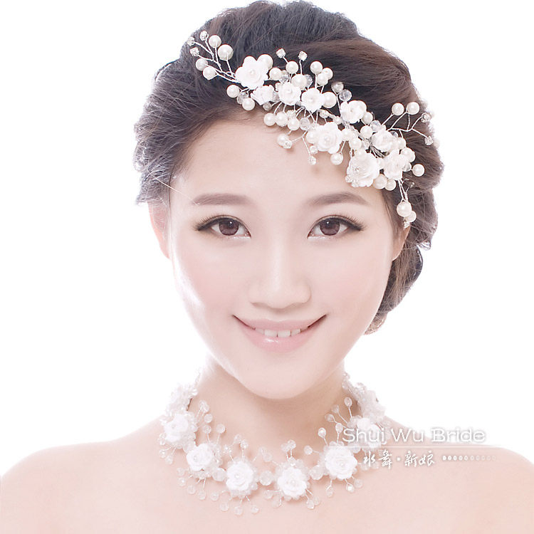Bride crystal pearl hair accessory hair accessory necklace polymer clay hair accessory married wedding flower hair accessory