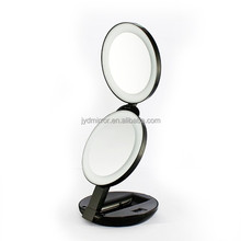 1X/10X LED Lighted Travel Makeup Mirror- Double Sided Folding Handheld Magnifying Mirror