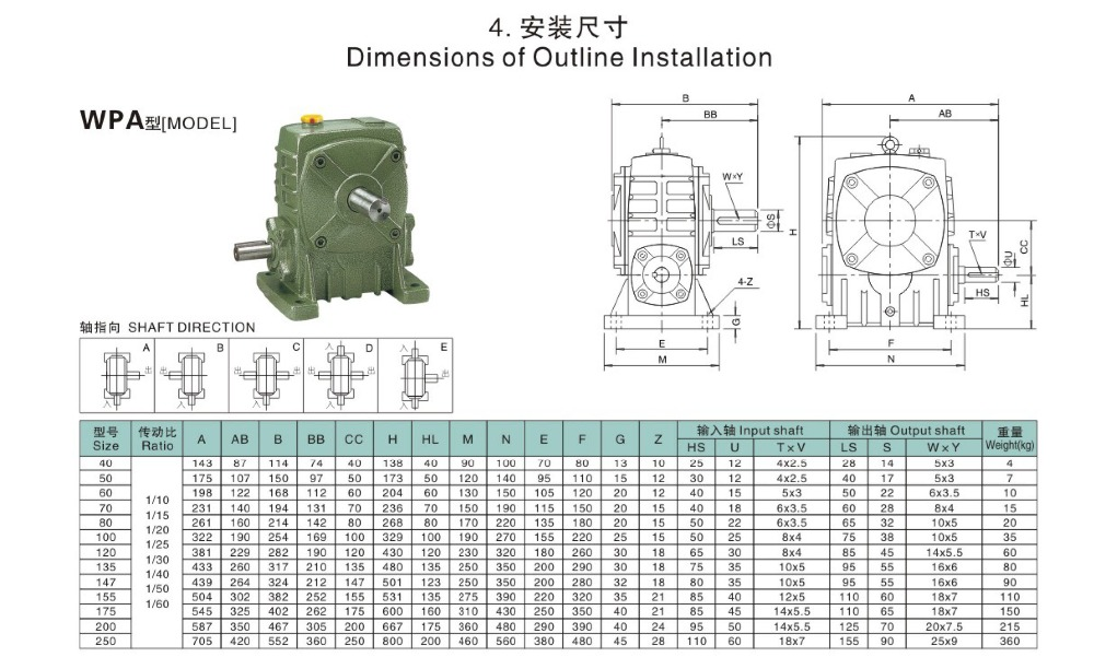 Chinese wpa series worm gear reducer with good quality