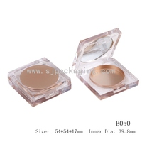 FREE SAMPLE Crystal blusher container transparent pressed powder container luxury empty powder compact case