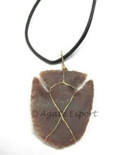 Agate Fish Arrowheads Wrap Pendants