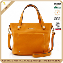 CSYH433-001 top grade yellow full grain cow leather women handbags wholesale