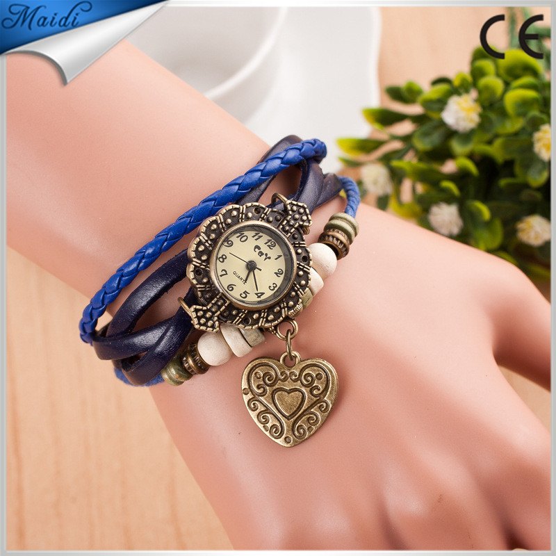 2016 China Fashion Design Genuine Cow Leather Vintage Watch Women Ladies Butterfly Pendant Wrist watch VW016