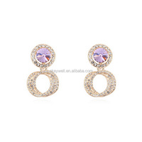 E1151 Free shipping Crystal Earring Ladies Fashion Gold Tone Multi Faceted Crystal Earring Nice mart Hot earrings