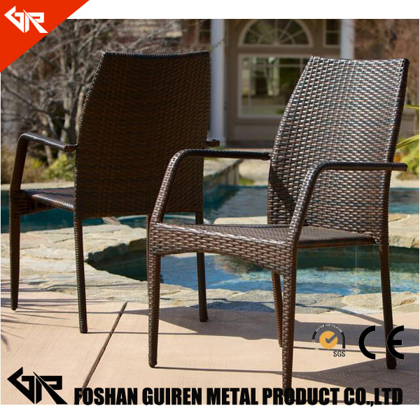 French style cheap rattan Outdoor Aluminum cube dining table and chair garden rattan chair and table