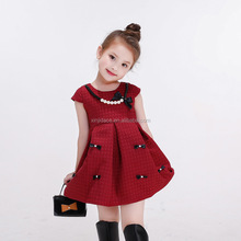 Low price children red frock designs dresses for girls of 7 years old