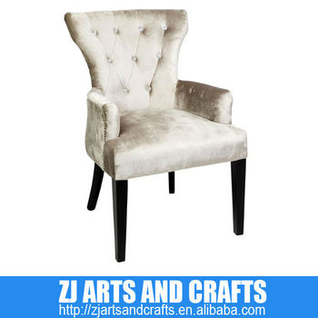 0381 Antique Chair (Champagne Faux Velvet covered arm chair with clear acrylic diamond buttons, silver studs and dark brown leg)
