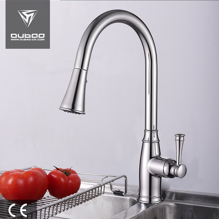 Water saving zinc handle faucet single lever kitchen faucet long spout pull out kitchenaid mixer