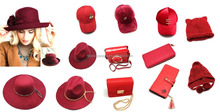 2017 red color hats with bow with Cashew pattern