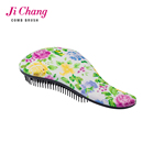 Water-transfer printing flower pattern detangling hair brush/detangler hair comb