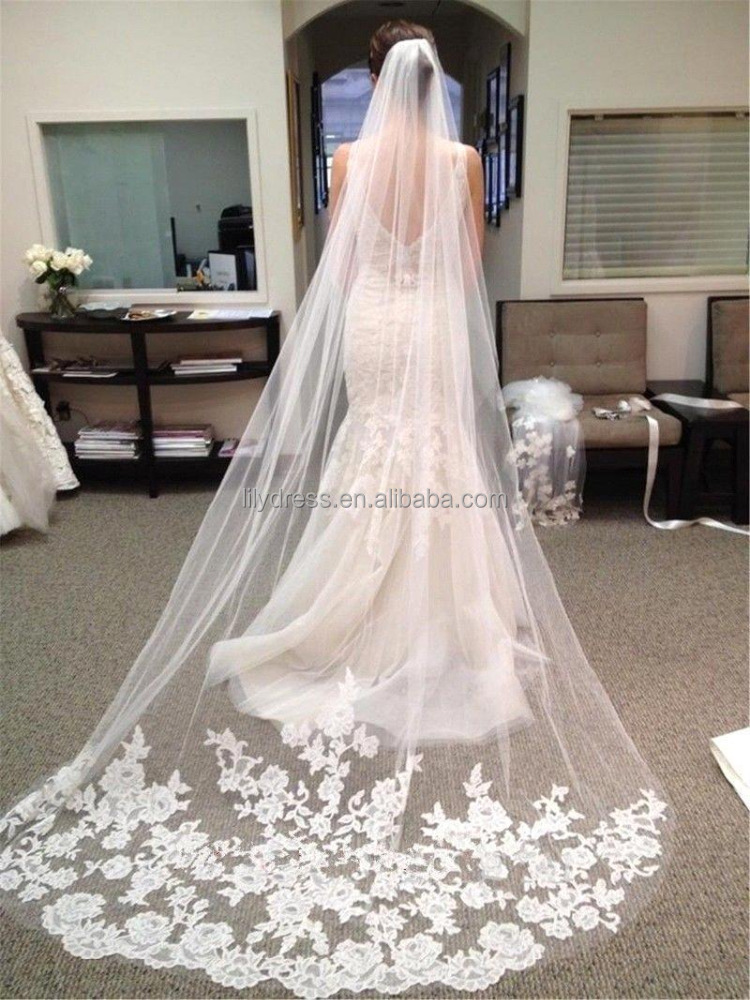 Cusotm Made Long Lace Bridal Veils One Layer Wedding Accessories Free Shipping Cheap White Wedding Veils 3m Long BV002