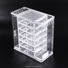 Acrylic Jewelry Organizer with 5 Drawer, 2 Hanging Side, Storage Your Beauty Accessory