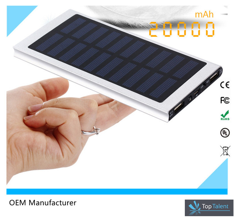 Aluminium Alloy Ultra Thin Solar Power Bank Mini Portable Solar Charger USB 20000mah Solar Power Bank for Smart Phones
