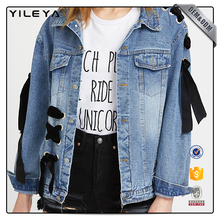 Custom women jean denim jacket for woman,latest jacket designs,lady jean denim jacket