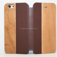 high quality real wood leather cell phone pu leather case for iphone