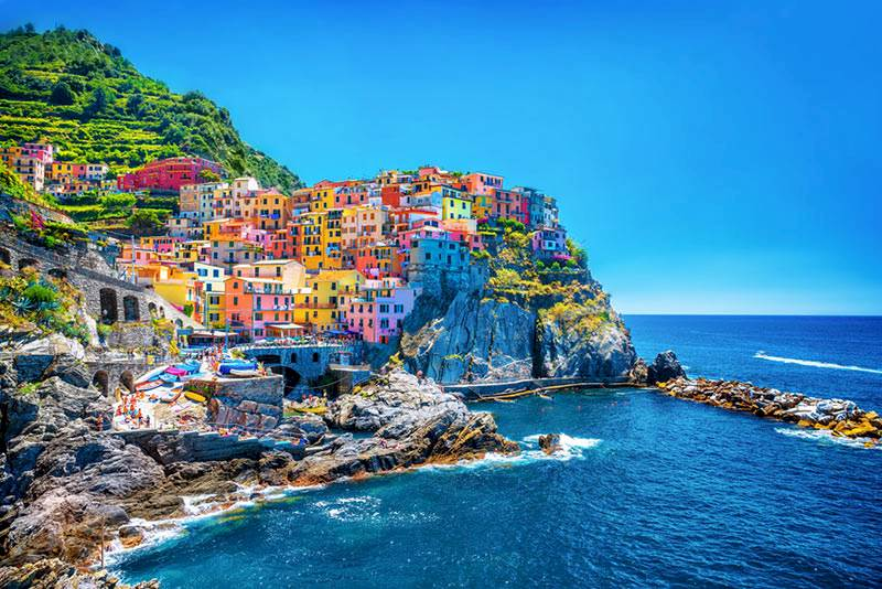 LK3210 3 Panels Italy Cinque Terre Seascape On Canvas Wall Art Wall Pictures For Living Room Bar Hotel Decoration Print on Canva