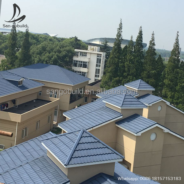 Modern Roofing Designs Metal Roofing Tiles, Colored Aluminum Zinc Steel Materials Stone granules coated roof tiles