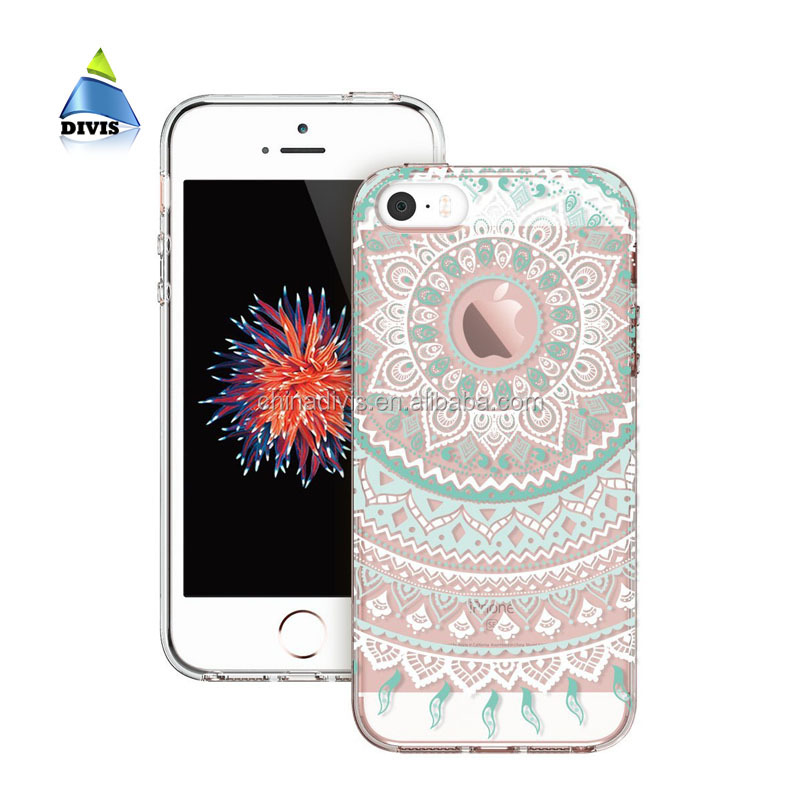 Case covers Luxury Transparent Soft TPU 3D Relief Custom Printed Cell Phone case For iphone 5 5s