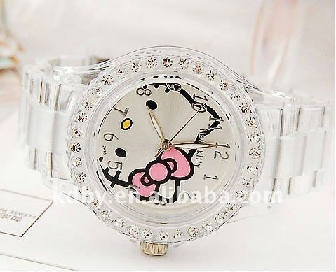Transparent White Fashion Lady Crystal Stone Hello Kitty Watch