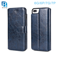 Crumpled 2 in 1 Split Type PU Leather Case for iPhone 6 7 plus Phone Wallet Case