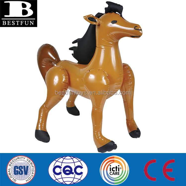high quality plastic inflatable horse folding inflatable horse 3D cartoon model funny inflatable animal toys for kids