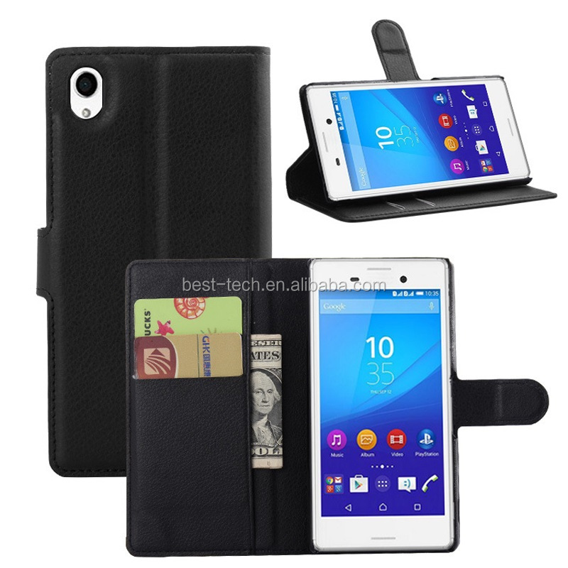 PU Wallet Flip Stand Leather Case for Sony Xperia M4 Aqua
