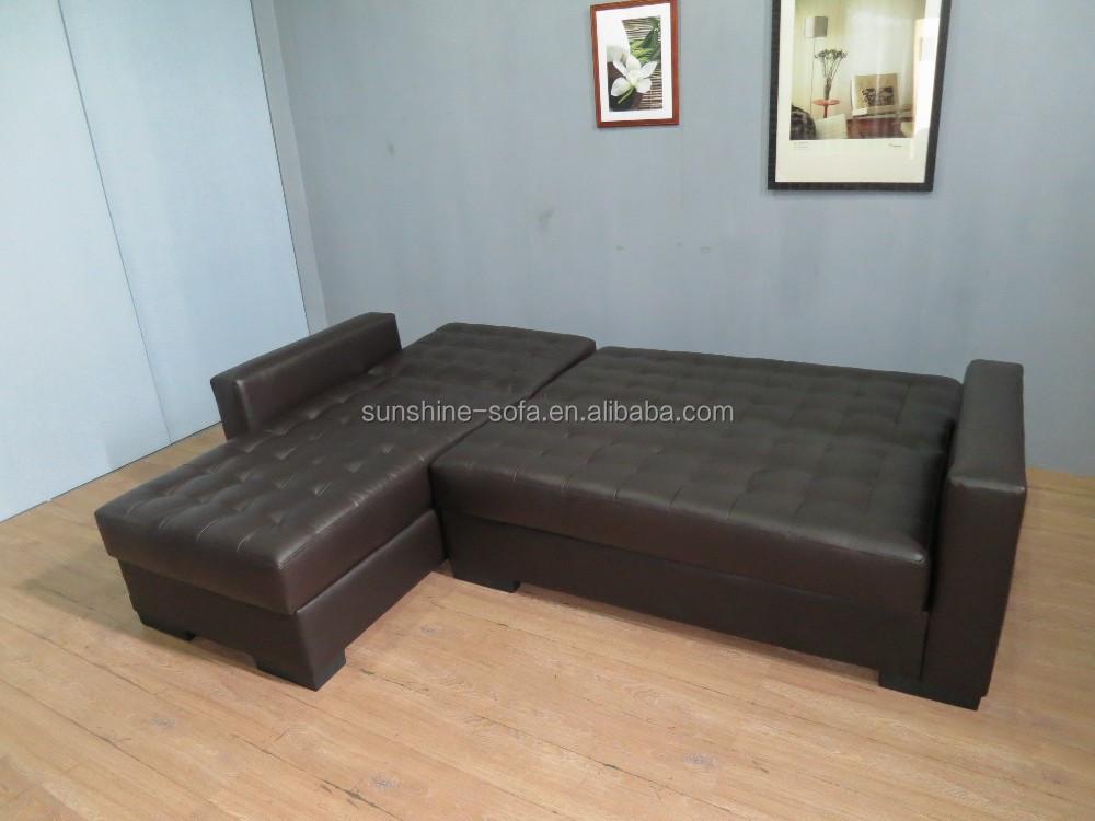 Pu de couro chesterfield canto sof cama com armazenamento - Sofa cama chesterfield ...