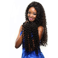"3 bundle/set 100% human remy hair weft 6a natural 12"" virgin Peruvian deep wave hair weaves"
